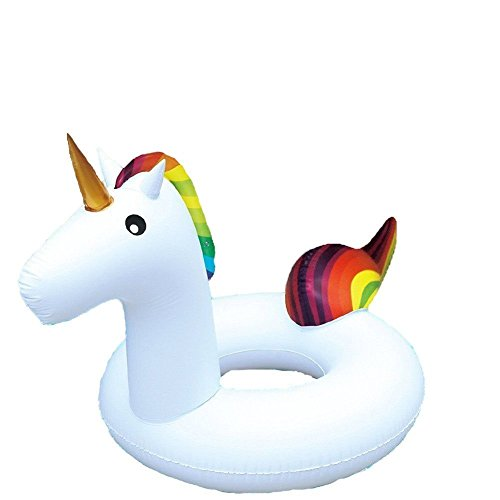 Giant Rainbow Unicorn Novelty Inflatable Swim Ring Swimming Pool Float 36'/91cm