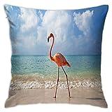 Flamingo Sea Beach - Funda de almohada clásica para dormitorio, sofá, silla, 50,8 x 50,8 cm
