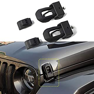 HEQIANG OEM Original Black Latch Locking Hood Catch Latches Kit for Jeep Wrangler JL 2018 2019