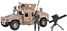 Sunny Days Entertainment M1114 Up-Armored Humvee – Vehicle Playset with Action Figure and Realistic Accessories   9 Piece Military Toy Set for Kids – Elite Force (101863)