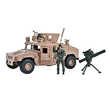 Sunny Days Entertainment M1114 Up-Armored Humvee – Vehicle Playset with Action Figure and Realistic Accessories | 9 Piece Military Toy Set for Kids – Elite Force