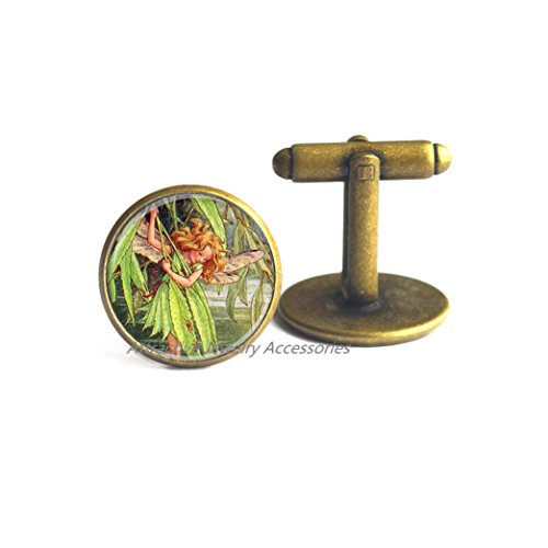 Wkloavmg Flower Fairy Fairy Glass Cuff Links,Photo Jewelry Glass Cuff Links Gift,Photo Jewelry Glass Cuff Links Gift,QK050 (Q2)