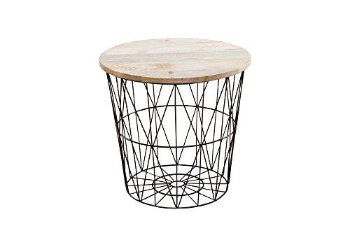 DuNord Design Couchtisch Arezzo 42cm schwarz Mango massiv Beistelltisch Korbtisch Massivholz Korb
