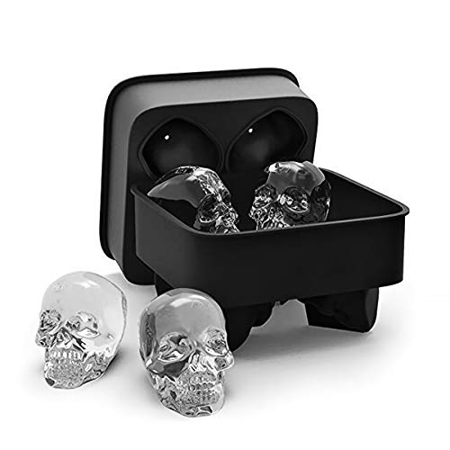 3D Skull Ice Cube Tray Mould 4 Vivid Skulls, Flexible Silicone Ice Cube Maker