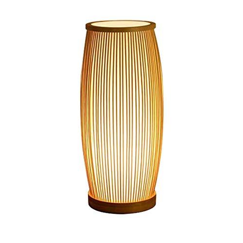 HTZ-M Lámpara de pie tailandesa Vintage Hecha a Mano, Marco de Madera de bambú Lámparas de pie Modernas para Sala de Estar, dormitorios para Sala de Estar, pasillos, Cent