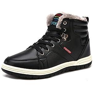 [SIXSPACE] スノーブーツ メンズ 防水 防寒靴 スノーシューズ 防滑 アウトドアシューズ ウィンターブーツ 綿雪靴 滑り止め ブラック 26.5cm