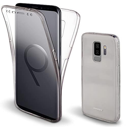 Moozy Cover Protezione 360 Gradi per Samsung S9 Plus Silicone Trasparente - Full Body Custodia TPU Case Copertura Completa