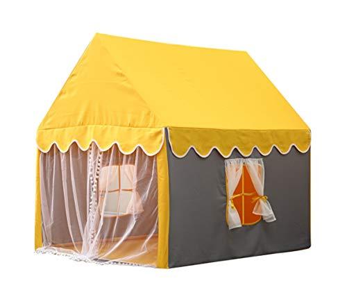 C-J-Xin Casa pequeña manera del niño interior tienda for bebés Playland azotea amarilla Casa del juguete de malla transpirable pantalla cortina 100 * 126 * 120 CM Tiendas de campaña