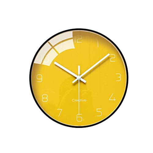 Teayason Orologio da parete moderno alla moda, per la casa, soggiorno camera da letto, orologio pendente, orologio silenzioso semplice creativo preciso (colore: grigio), giallo