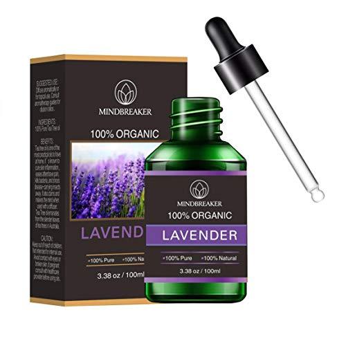 Aceite Esencial de Lavanda Orgánica, Aceites Perfumados de Aromaterapia Orgánica Aceites Esenciales 100% Puros Terapéuticos de Grado Premium - Botellas (100 ml)