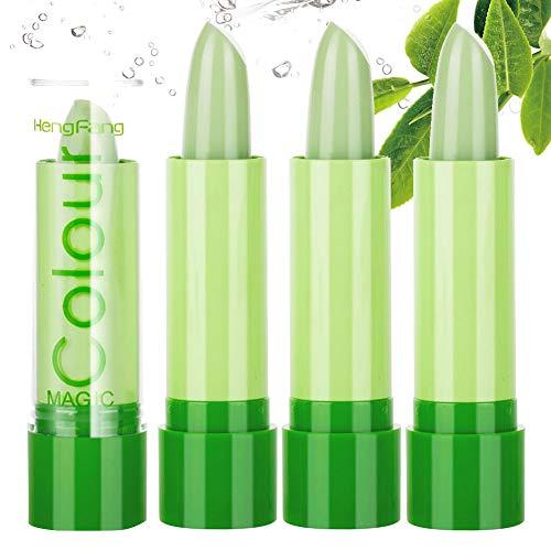 Gireatick 3PCS Aloe Vera Lippenstift, magische Farbe, die sich mit der Temperatur ändert, feuchtigkeitsspendender Lipgloss Lip Plumper Langlebiges Lippen Make-up Set