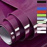 Papel Adhesivo para Muebles Vinilos Adhesivo para Muebles Puertas Ventanas Pegatina de Vinilo Adhesivo Muebles 60X500cm (Púrpura)