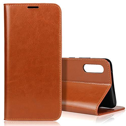 EATCYE für Samsung Galaxy A90 5G Hülle, [Echtleder] Handyhülle [Extra Dünn] Brieftasche flip Lederhülle Schutzhülle [Versteckt Magnet] Premium Design Echt Leder Brieftasche (Braun)