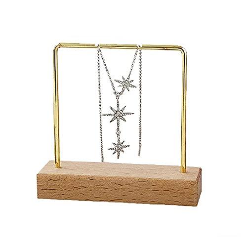 Estante de joyería, estante para pendientes, collar y pendientes, estante de exhibición de joyería, estante para pendientes con bandeja de joyería de madera, estante para collares y pulseras (dorado)