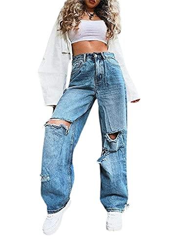 Whhhciy Pantalones vaqueros para mujer, estilo boyfriends, cintura alta, holgados, pernera ancha, rectos, estilo vintage, azul, XL