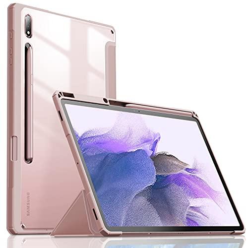 INFILAND Custodia per Samsung Galaxy Tab S7+/S7 Plus/S7 Fe 12.4 (T970/T975/T976) 2020, Bordo in TPU, Cover Retro Traslucido con Protettivo Portapenne, Auto Sonno/Veglia, Rosa Dorado