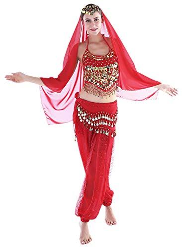 Seawhisper Bollywood Kostüm Damen Fasching Halloween Kostüm Indische Kleidung Bauchtanzkostüme Rot Hose Oberteil