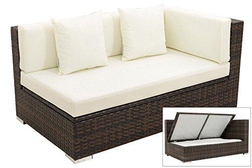 OUTFLEXX 2-Sitzer Ecksofa aus hochwertigem Polyrattan in braun marmoriert mit Kissenboxfunktion für 2 Personen, inkl. Kissen, Armlehne links, wetterfest, perfekt für den Outdoorbereich geeignet