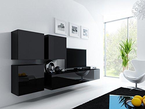 Furniture24 Wohnwand VIGO 23, Desing Mediawand, Modernes Anbauwand mit 3 Türen und 2 Klaptüren, Hängeschrank Tv Lowboard (Schwarz/Schwarz Hochglanz)