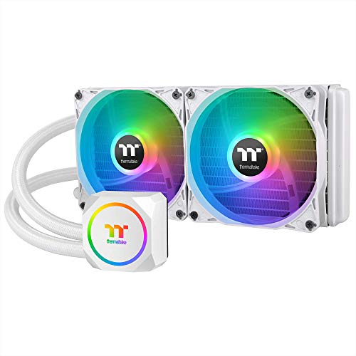 Thermaltake TH240 ARGB Snow Edition AMD/Intel LGA1200 Ready All-in-One Liquid Cooling System 240mm High Efficiency Radiator CPU Cooler CL-W301-PL12SW-A, White