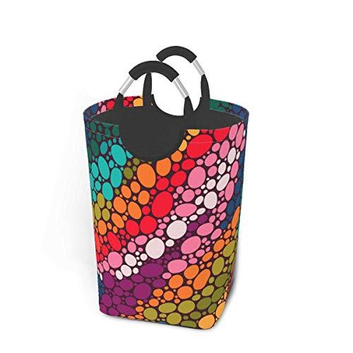 IUBBKI Cesto de lavandería, color de lunares, patrón sin costuras, cesto de lavandería, bolsa de ropa sucia, escamas de arcoíris, estrellas mágicas, cubo plegable, cubo de lavado, organizador de almac