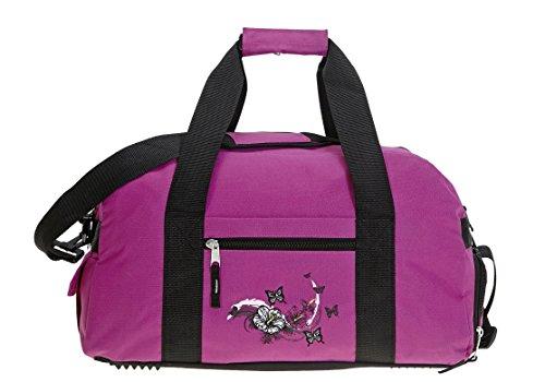 Elephant Sporttasche mit Schuhfach/Naßfach Sport Tasche + Trinkflasche (Butterfly Magenta)
