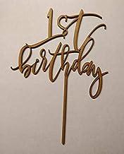 LaserKris - Decoración de Madera para Tarta de Primer cumpleaños (3 mm), Color Blanco