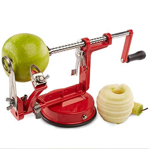 Apfel/Kartoffel-Schälmaschine 3-In-1-Multifunktions-Manuelle Schäler Schneiden Obst/Peeling/Slice Für Küche Verschiedene Obst Und Gemüse (Rot)