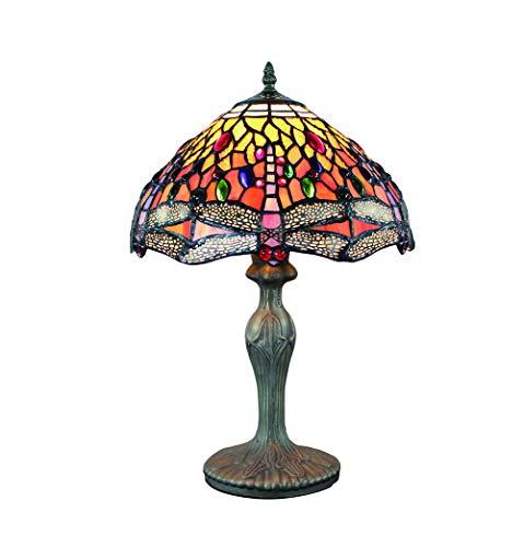Tokira Vintage Tiffany Tischlampen Orange Libelle 50 Hoch, Tiffany Tischlampe Antik Original, Glasmalerei Lampen Schlafzimmer Nacht Lampenschirme Wohnzimmer