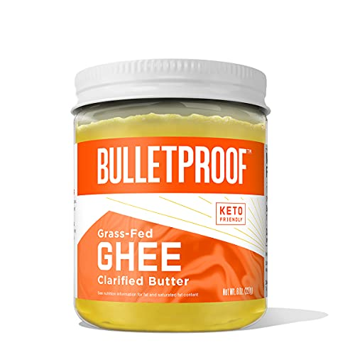 Grass Fed Ghee, 8 Oz, Bulletproof 100% Grass Fed, Pasture Raised Clarified Butter Fat, Keto, Paleo, Lactose Free, Casein Free, Non-GMO