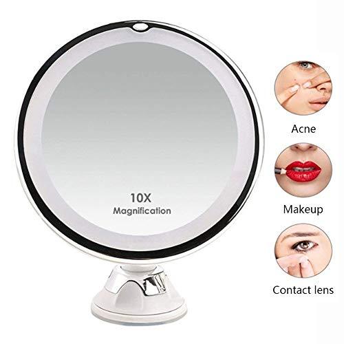 CTEGOOD Miroirs cosmétiques à Poser avec Lumineux LED et Ventouse, Miroir de Maquillage Grossissant 10X pour Maquillage et Rasage, Rotation à 360°, Mural