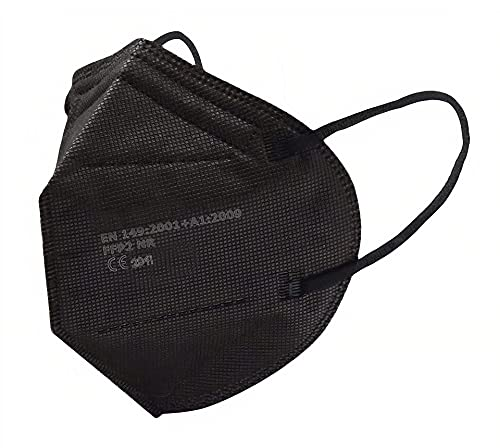 SALO MED 20 Mascherine FFP2 Nere – Certificate CE – Confezionate Singolarmente – Mascherina 5 Strati – Protezione con filtraggio BFE >99% - Box 20 Pezzi