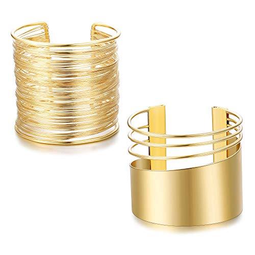 Adramata 2 Stück Manschette Armreif Set für Frauen öffnen breite Draht Armbänder einstellbar Gold versilbert