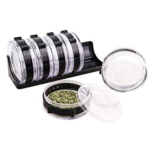 UPP Gewürzregal Dosier-Zylinder 7 teilig aus Kunststoff für Gewürze - einzeln entnehmbar und mit Dosierer - Zylindergröße 8x3cm - Gewürzständer/Station für Ordnung (schwarz)
