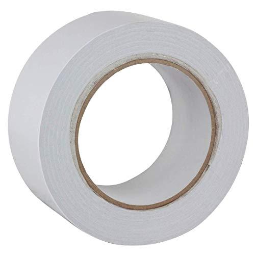 Cinta adhesiva de doble cara Gocableties, 33 m x 50 mm, de alta calidad y resistente, color blanco, blanco