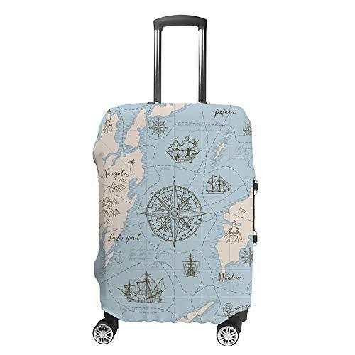 Ruchen - Funda Protectora para Maleta, diseño de Mapa Azul Vintage, Color Rosa