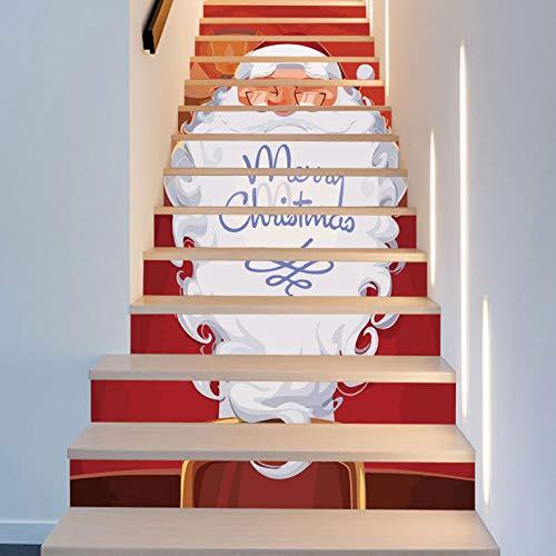 13 pegatinas de escalera – 3D Santa Claus pegatinas autoadhesivas de Navidad, fiesta, hogar, escalera, 100 cm x 18 cm