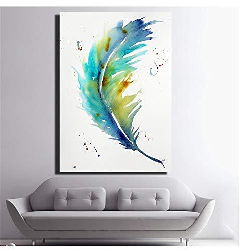 LangGe Pluma Azul Impresiones en Lienzo Grandes Acuarela Abstracta Decoración Moderna de la Pared del hogar Impresión en Lienzo Abstracta Pintura al óleo Pintura 60x80cm Sin Marco