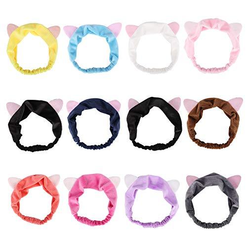 Auidy_6TXD 12 Katzenohren Haarband Damen Süß Stirnband Haarband Für Gesicht Oder Make-up