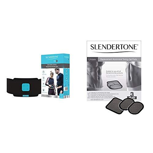 Slendertone ABS8 Cinturón de tonificación Abdominal, Unisex-Adult, Negro, 61-107 cm + Ceinture Electrodos de Repuesto para cinturón Abdominal, Unisex, Talla única