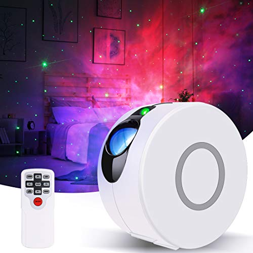 Galaxy Projector, GooDGo Dynamic Christmas Star Light Projector for Bedroom, Laser LED Nebula Cloud Starry Sky Night Light with Remote Control for Kids Adults Party -White