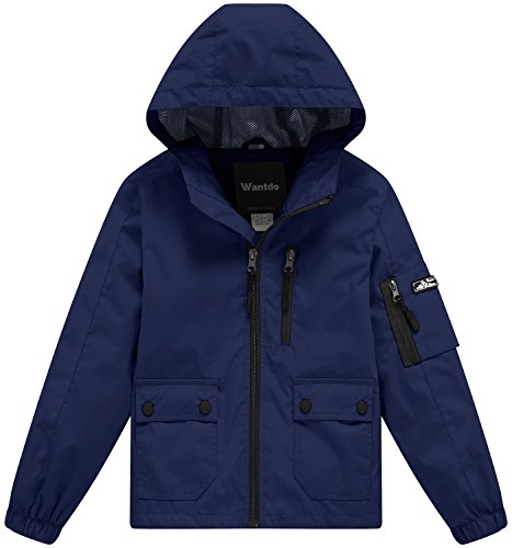 Wantdo Boy's Lightweight Hooded Jacket Zipped Outerwear for Camping Black 4/5