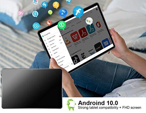 FACETEL Tablette 10.1 Pouces Android 10.0, 4 Go RAM 64 Go ROM - Certification Google GSM, Écran FHD 1920*1200, Octa Core | 8000mAh | WI-FI | Bluetooth | GPS | Type-C(5.0 8.0 MP Caméra) -Gris