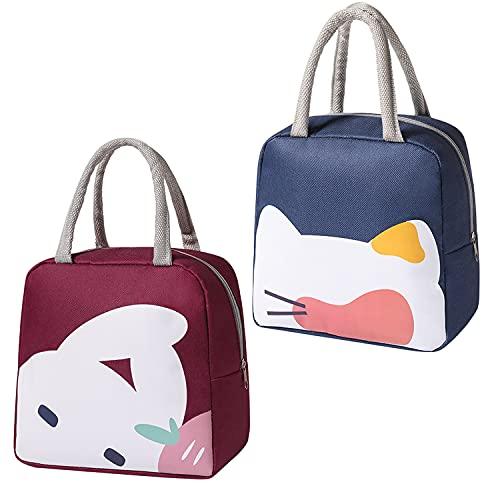 fengman123 Bolsa Isotérmica de Almuerzo Lunch Bag(2 Piezas ), Bolsa Térmica Comida, Tela Impermeable Plegable Bolsas de Almuerzo Caja Porta con Aislamiento para Mujeres, Adultos, Estudiantes