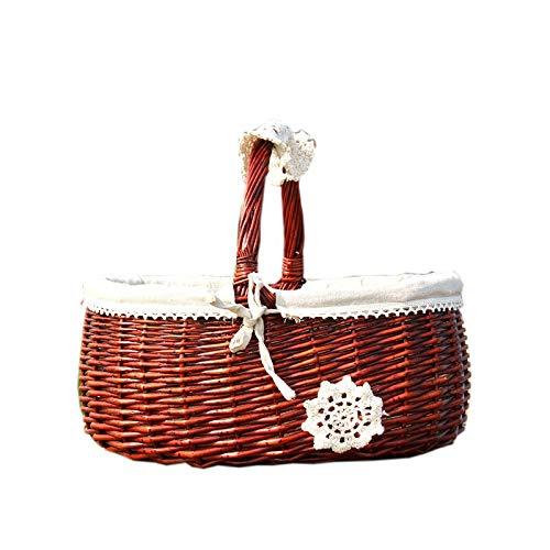 Tylyund Cesta de picnic cesta de vid de mano de estilo japonés cesta de la compra cesta de bambú pequeña cesta de regalo cesta de picnic cesta de frutas