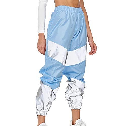 N\P Pantalones deportivos para mujer con costuras de color reflectantes, cintura alta, pies de viga, pantalones de entrenamiento casuales
