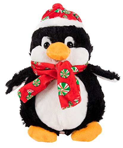 Cute Penguin Stuffed Animal - Puffy the Penguin Kids Soft Plush Toy, Fun Christmas Holiday Party Gifts for Girls and Boys, Festive Decoration, 6.5 x 4.2 x 8 Inches