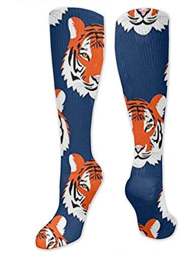 NA Heren & Vrouwen Casual Knie High Tube Sokken Mid-Calf Sokken Kostuum Cosplay Sokken Meisjes Nieuwigheid Sokken, Jungle Tijgers in Auburn Kleuren