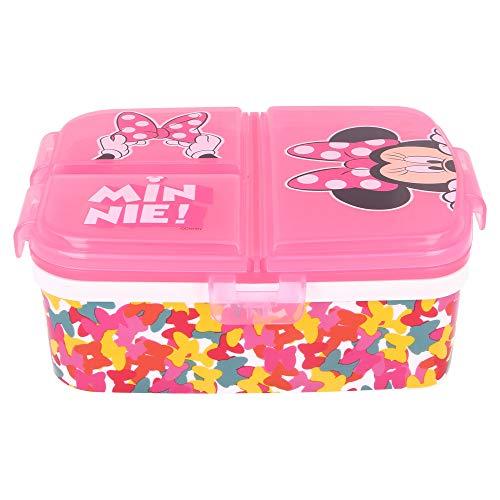 Stor Minnie Mouse | Sandwichera con 4 Compartimentos - Tupper Infantil - Fiambrera Decorada para Niños