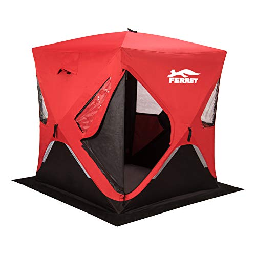 "FERRET 1-2 Person 58""X58""X66"" Waterproof Pop-up Portable Ice Shelter Tent Ice Shelter Fishing Tent with Carrier Bag, Red"